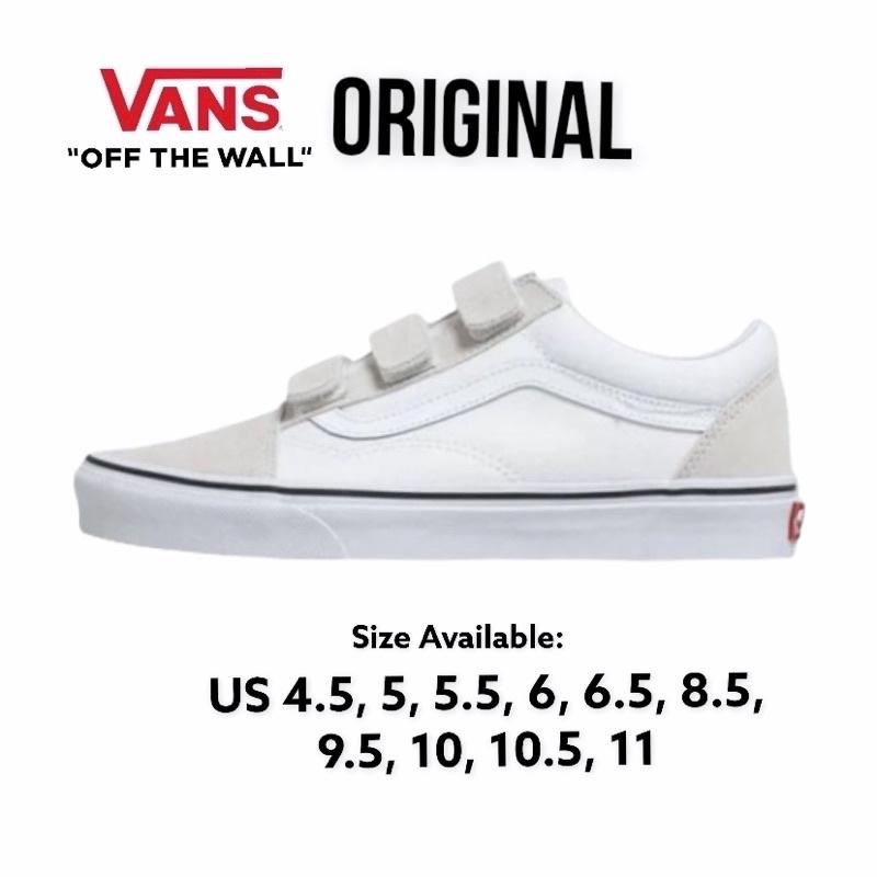 VANS Old Skool Velcro Beige & White Couple Sneakers Couple Size ...