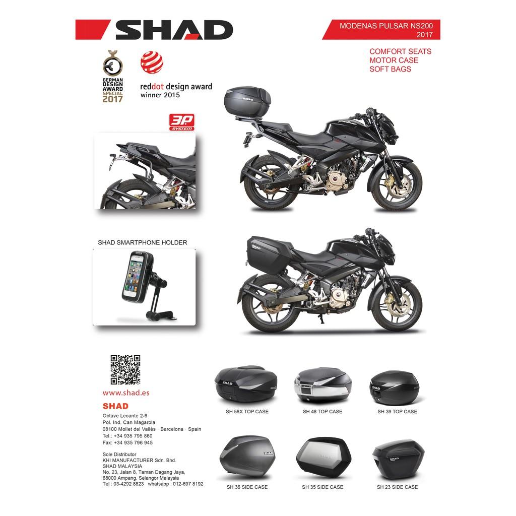 SHAD BOX FOR MODENAS PULSAR NS200 17-18'