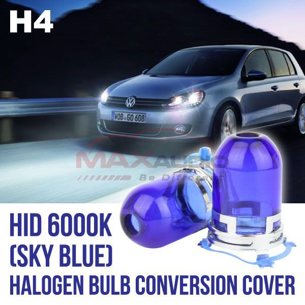 [FREE Gift] (CLEARANCE) HID H4 6000K Sky Blue Head Lamp Halogen Bulb Conversion Cover Cap Main in Taiwan (Pair)
