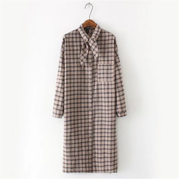 Plus Size Women Blouse Long Sleeved Plaid OL Lady Dress