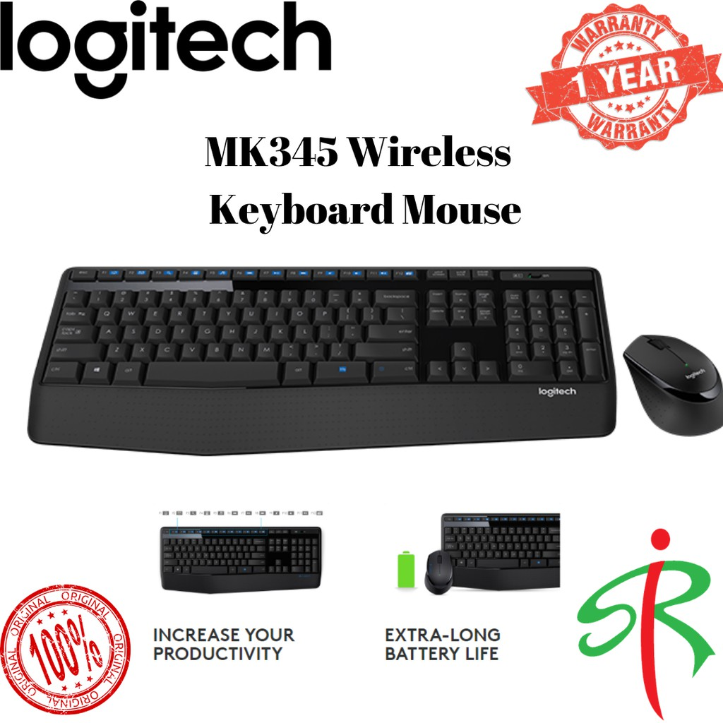 Logitech MK345 Comfort Full Size Wireless Combo with Extra Long Battery Life