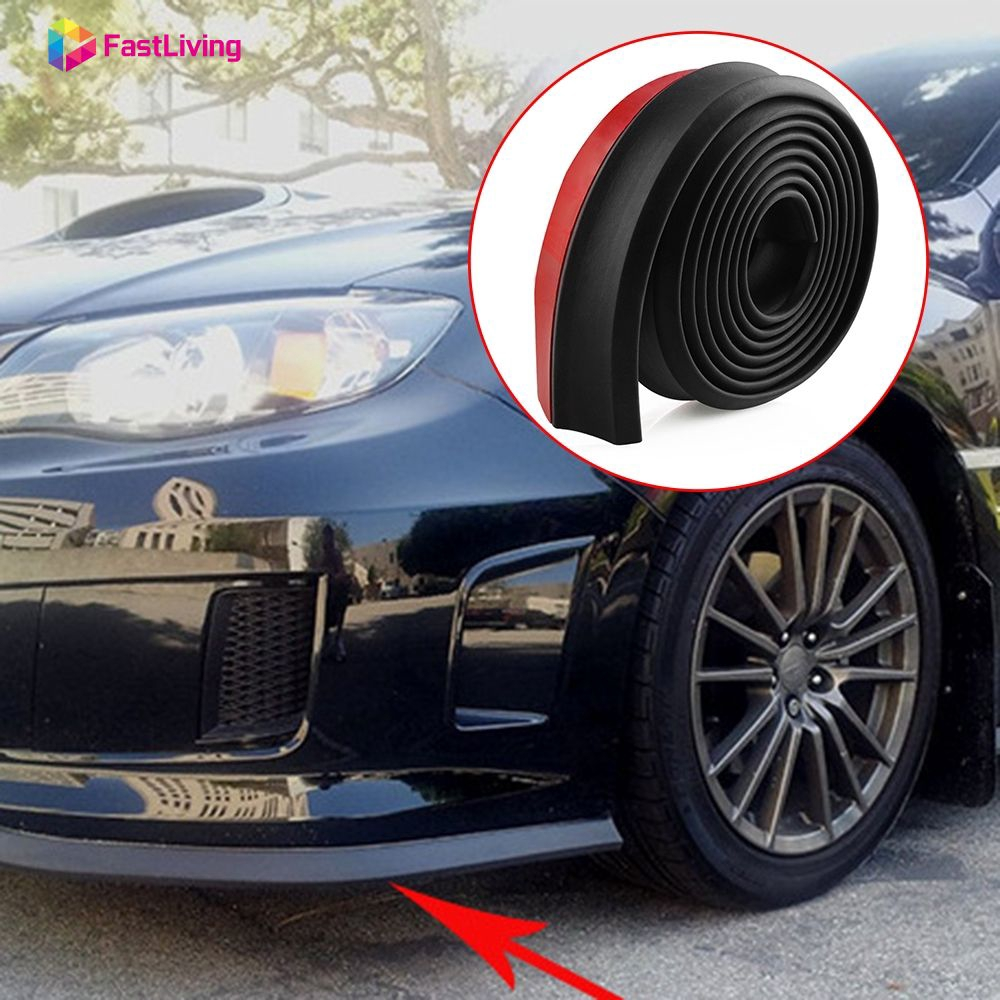 2.5M Red Car Front Bumper Quick Splitter Body Spoiler Skirt Rubber Protector JDM