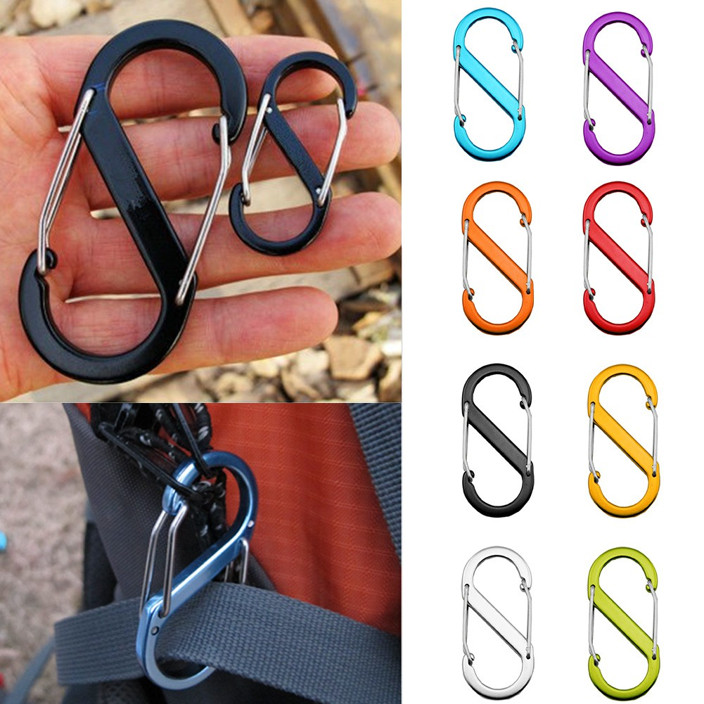 100 Pcs Brown Multi-Functional Portable 8-Shaped Carabiner Clip Hook Keychain