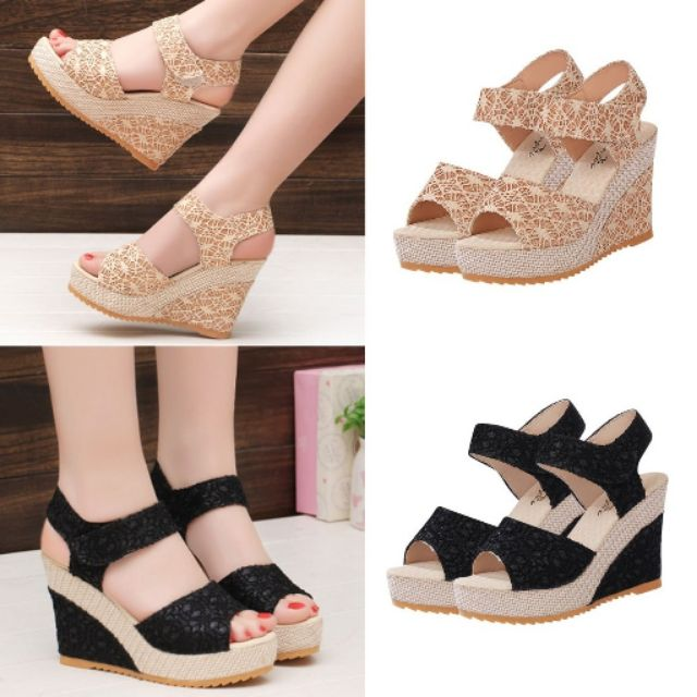 a4fe9962a ProductImage. ProductImage. PRE ORDER LACE STRAP Women High Heel Lady  Wedges Shoes