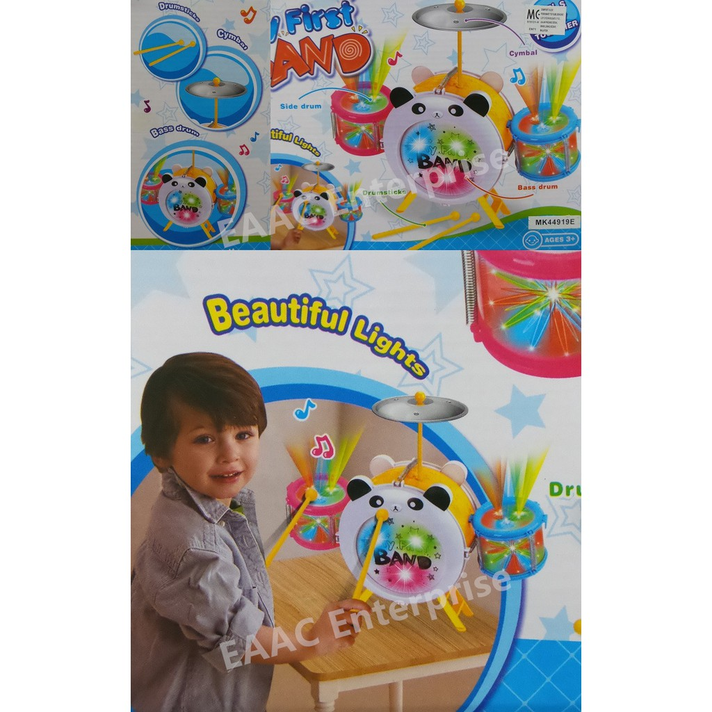 Panda Cartoon Mini Band Kids Drum Set Music With Colourful Light