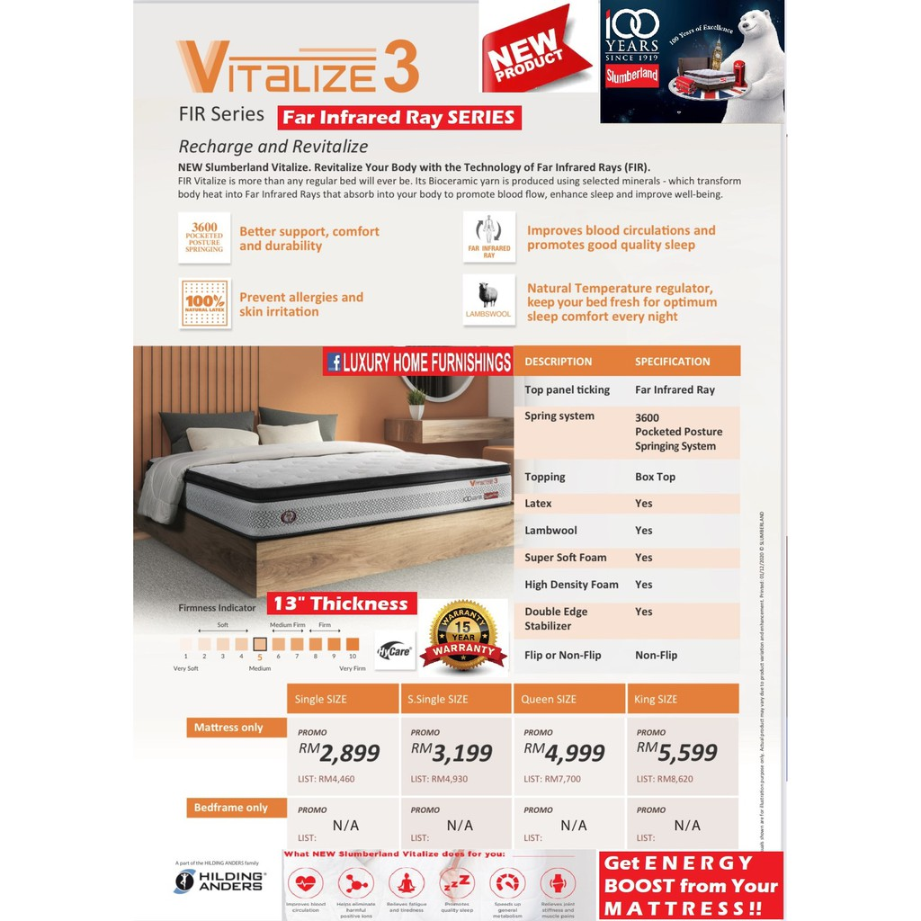 """RECHARGE & REVITALIZE from Your Far Infrared Ray Energy BOOSTING """"VITALIZE 3"""" HIGH TECH REJUVENATING MATTRESS"""