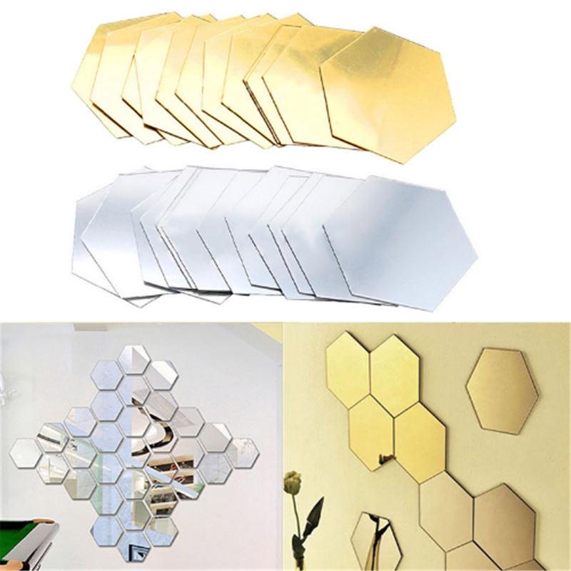 Gold 12pcs Mirror Art Diy Home Decorative 3d Hexagonal Acrylic Mirror Wall Sheet Plastic Tiles Decor
