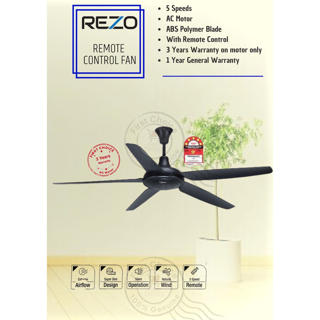 Latest Rezo Ventus Ceiling Fan My56 56 5 Abs Blades Heavy Duty Motor 5 Speed Remote Control Shopee Malaysia