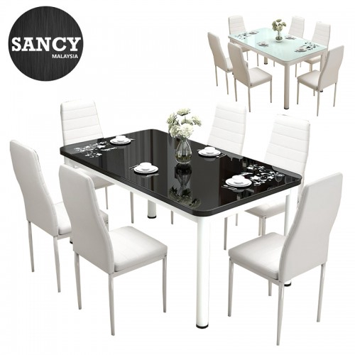 Sancy Simple Modern Rectangle Tempered Glass Top Dining Table Set