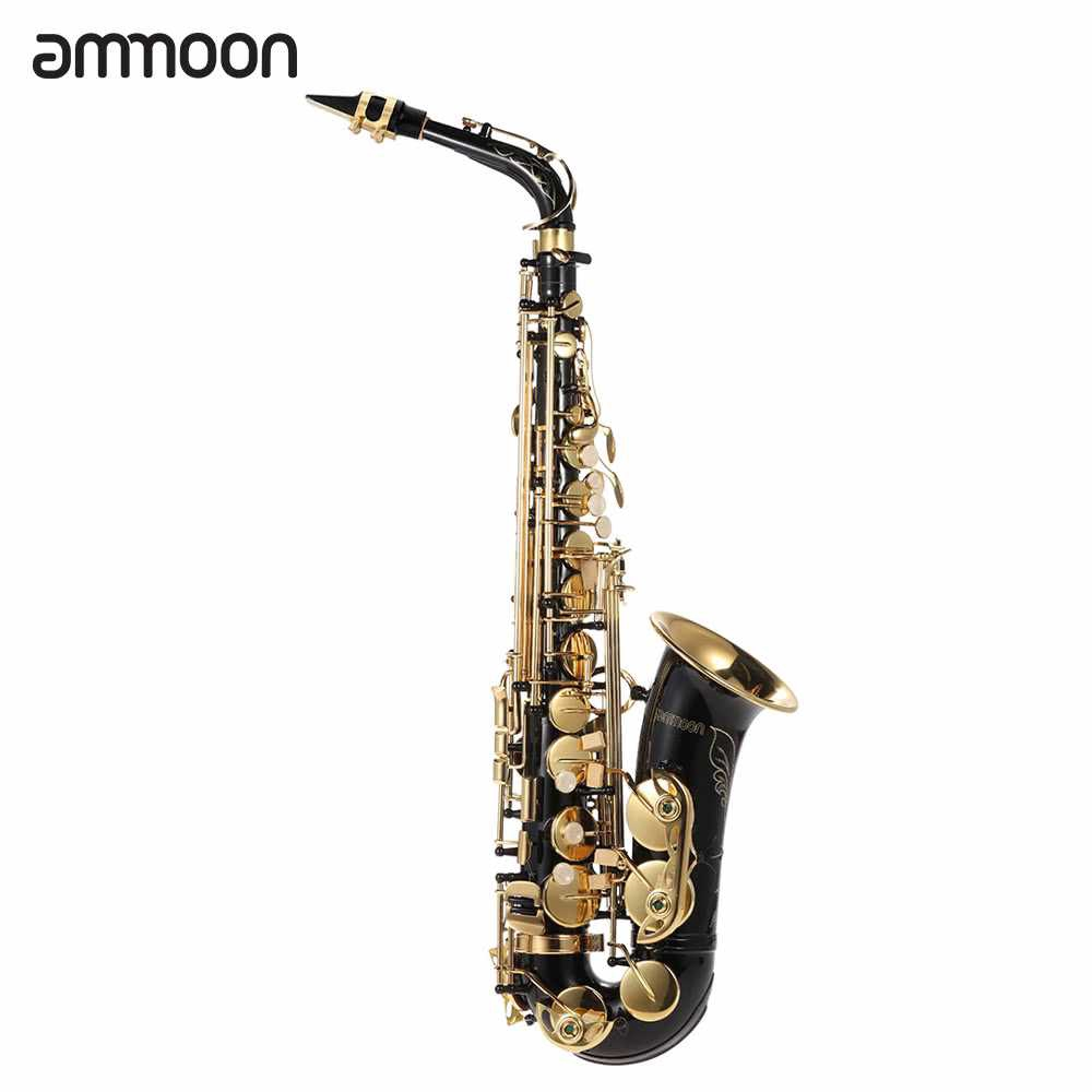 ammoon bE Alto Saxphone Brass Lacquered Gold E Flat Sax 82Z Key Type Woodwind