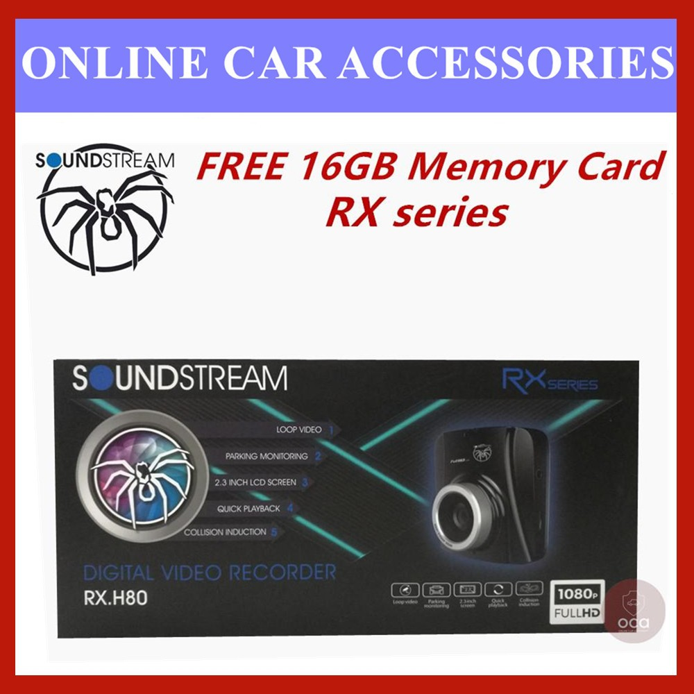 """Soundstream DVR 2.3"""" LCD Display 1080P HD Car Front and Rear Driving Recorder Camera DVR RX.H80 (FREE 16GB Memory Card)"""