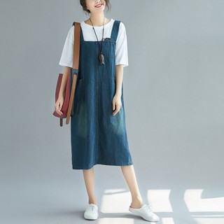 new design thoughts on online for sale Women's Plus Size Suspender Strap A Line Denim Overall Jumper Dress With  Pockets