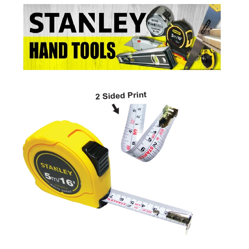 STANLEY DOUBLE SIDED  WHITE SERIES MEASURING TAPE 33-492 16FEET 5METER 1 INCH 19 WIDTH MEASURE TAPE(3 MONTH WARRANTY)