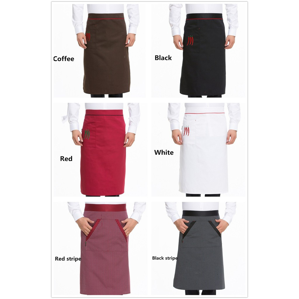 Unisex Half Bust Bib Apron Restaurant Kitchen Coffee Tea Shop Waitress Uniforms Waist Short Apron With Pockets Large Assortment Home & Garden