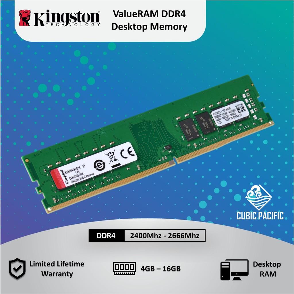 Kingston 4GB/8GB/16GB DDR4 2400Mhz Desktop (PC) Value Ram