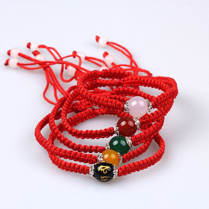 ♛AUTU Buddhism Six Words Tibetan Agates Beads Bracelet Lucky Red String Rope