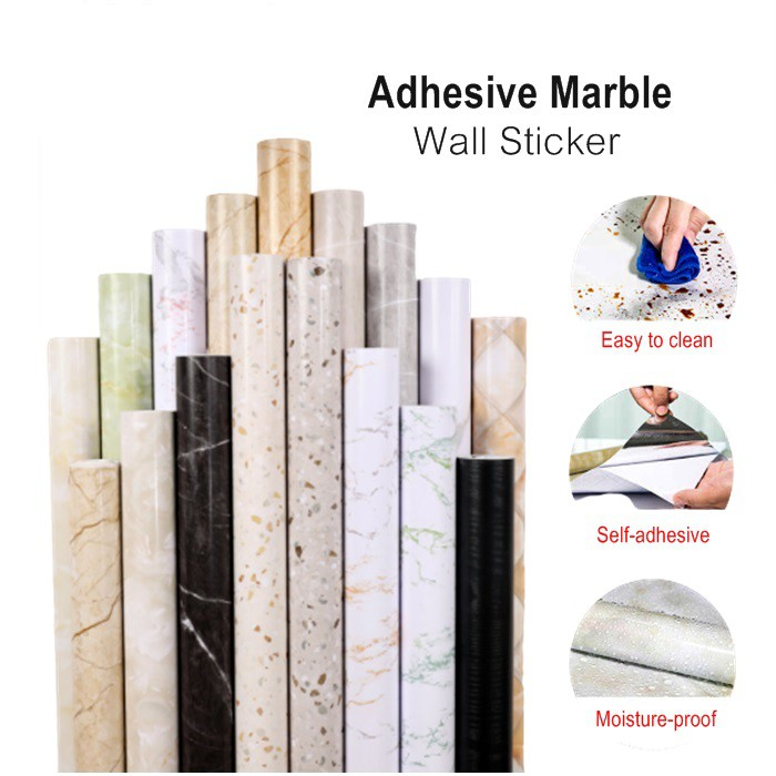 Marble Waterproof Self Adhesive Wallpaper Wardrobe Renovation 60cmx5meter