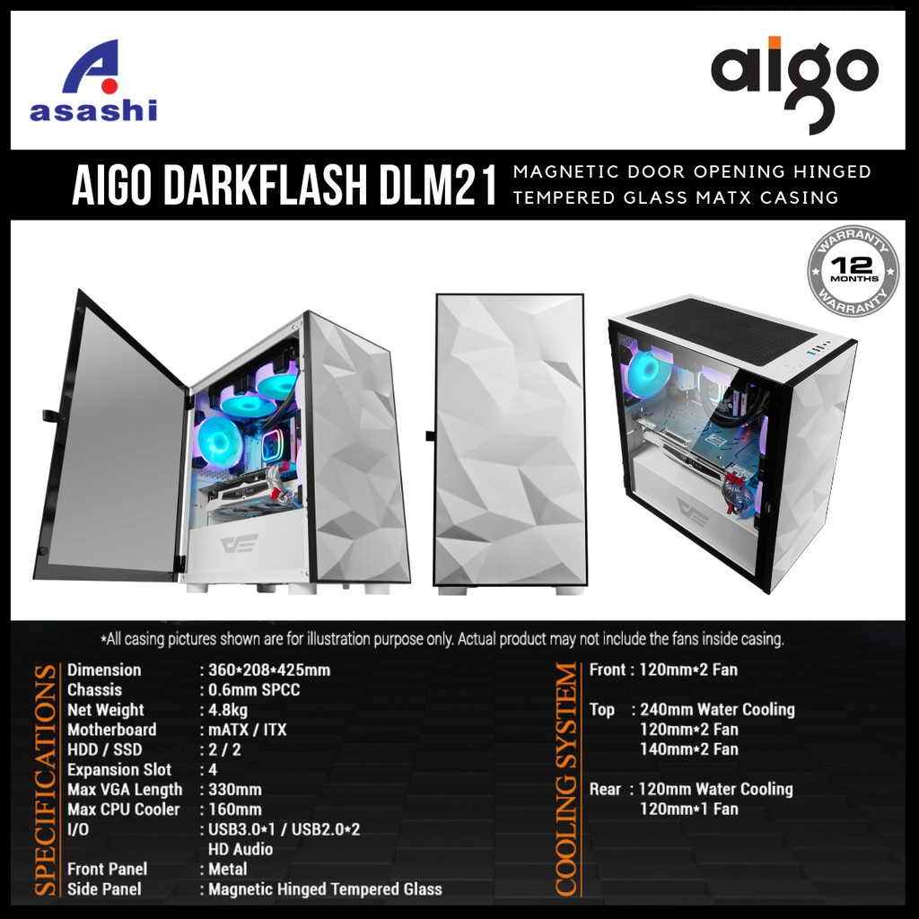 AIGO DarkFlash DLM 21 Magnetic Hinged Door Opening Tempered Glass mATX  Casing   WHITE   DLM21