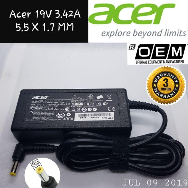 Acer Laptop Charger Adaptor 19V 3 42A OEM Tip Saiz 5 5 x 1 7mm