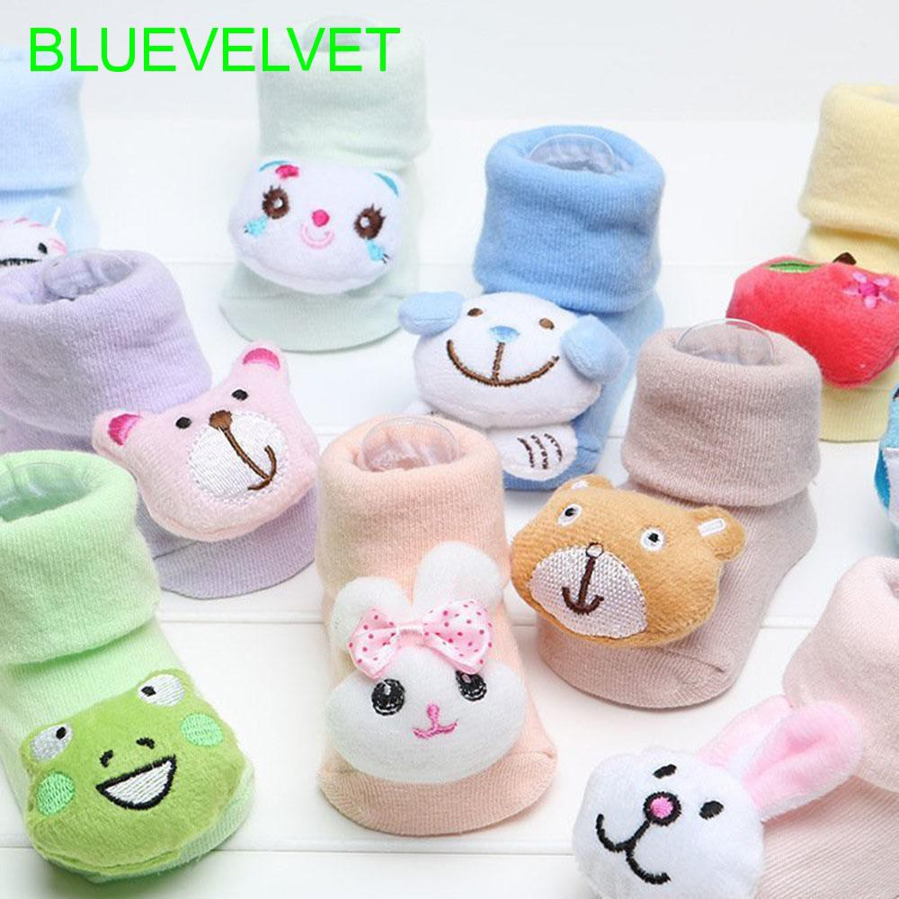 1pair Cartoon Newborns Socks Cotton Baby Anti Slip With Bell Floor Socks Warm