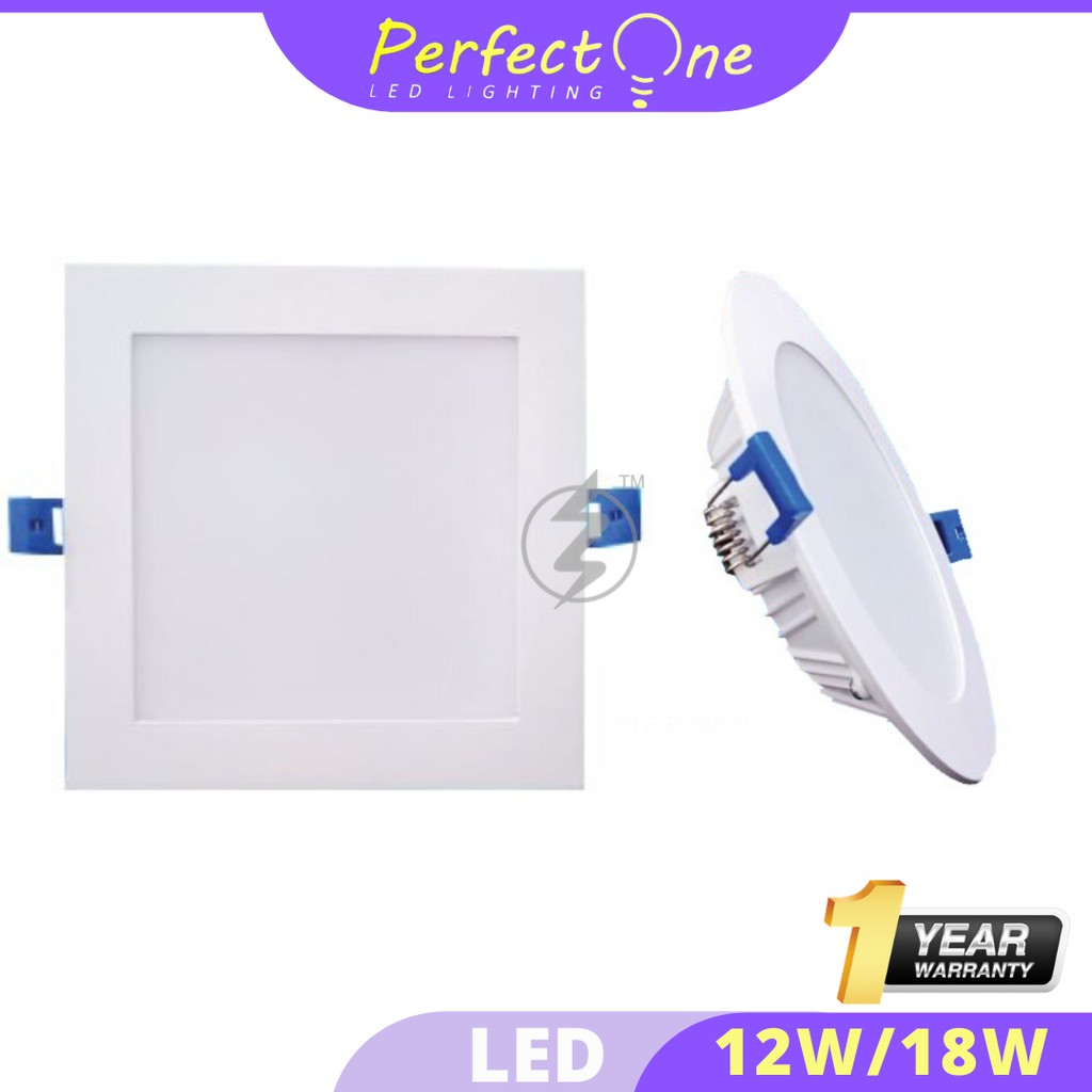 "[HIGH QUALITY] PERFECT ONE 18W 6"" Inch P1 LED DOWNLIGHT (1 YEAR WARRANTY) (DAYLIGHT)(WARM WHITE)(ROUND)(SQUARE)"