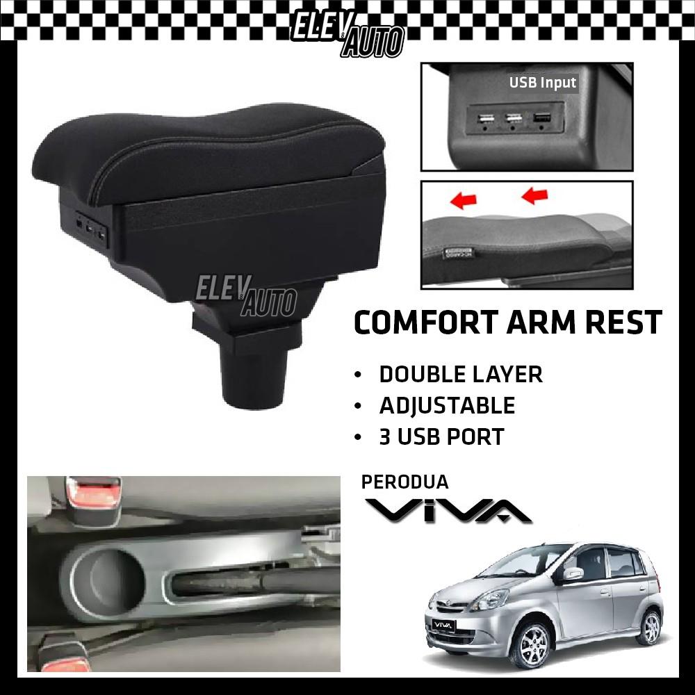 Perodua Viva Premium Leather Arm Rest ArmRest Double Layer Adjustable (3 USB)