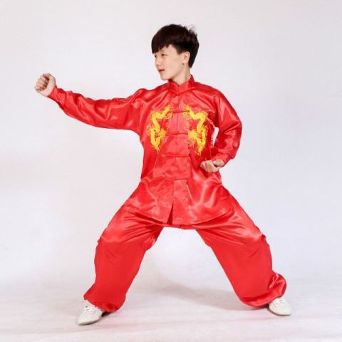 Taichi Kungfu Uniform Costumes Training Wear Wushu Chinese Red Colour S-XL