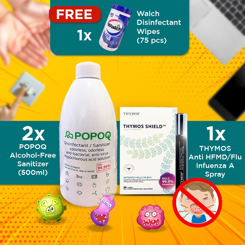 【HOCL Non Flammable Sanitiser Frm Korea】2x Popoq, 1x Thymos HFMD, Walch Wet Wipe