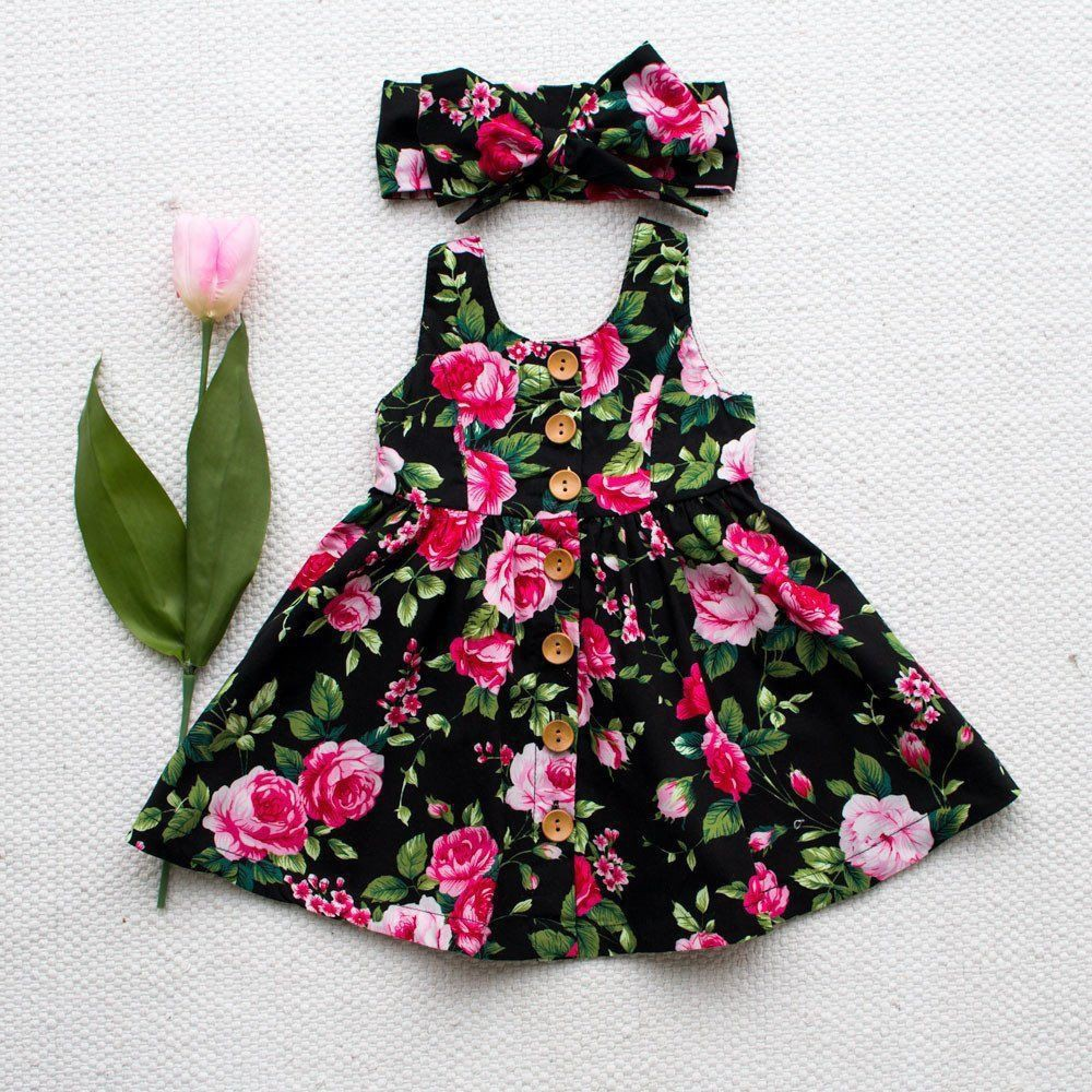 ~ DRESS KANAK-KANAK PEREMPUAN ~ Toddler Infant Kids Baby Girls Summer  Floral Dress Princess Party Dresses 6-6 T