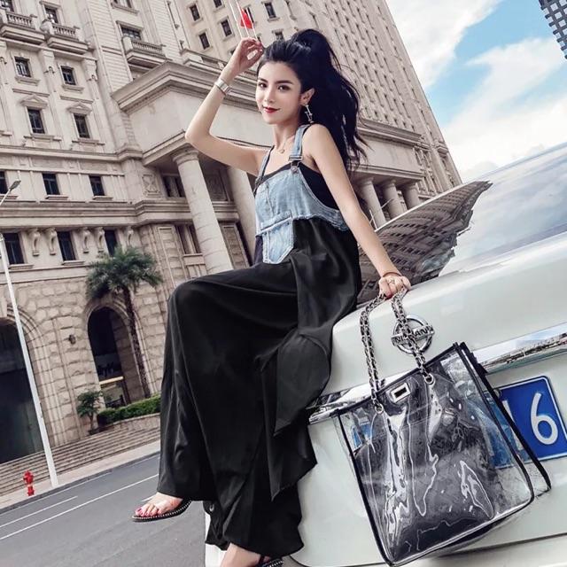 [S~XL] summer dress denim strap stitching Dress 夏装港味时尚牛仔背带拼接连衣裙沙滩裙