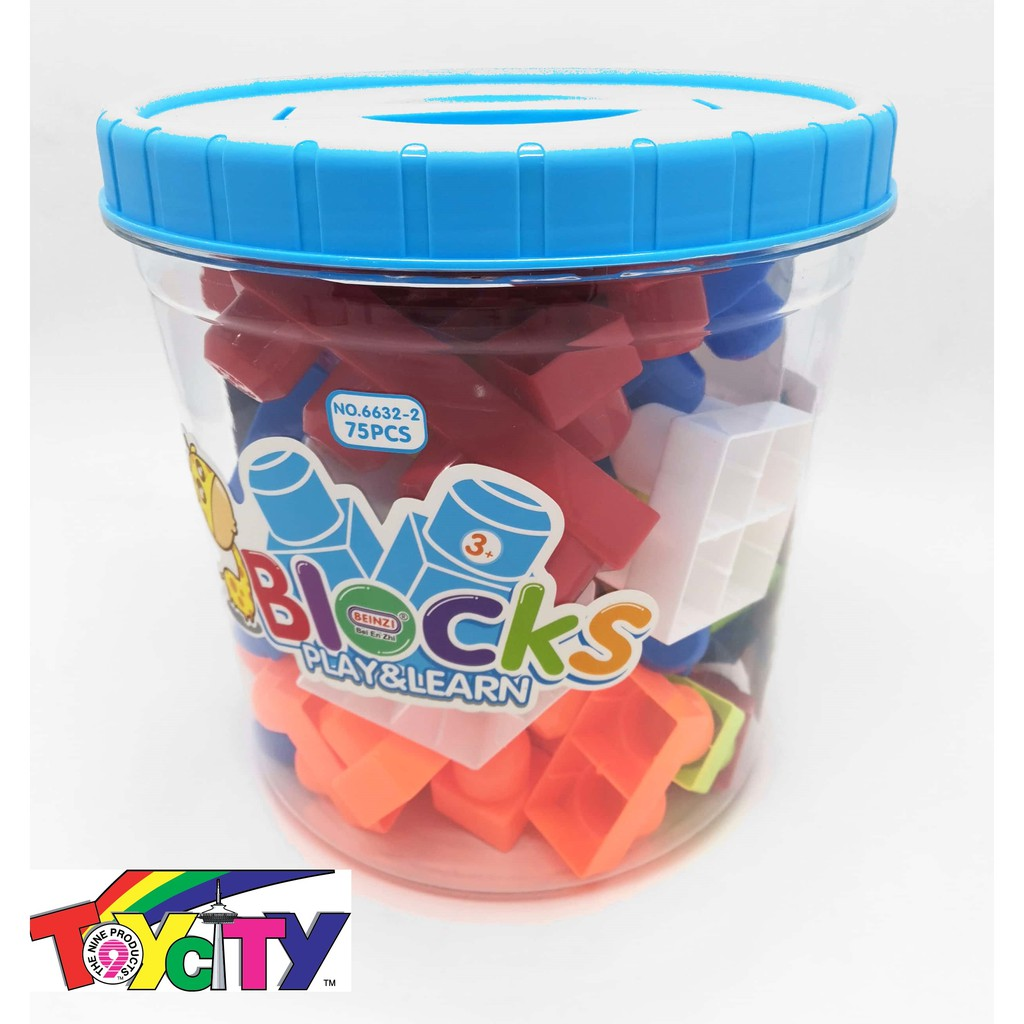 BASIC BIG BLOCKS WITH 75 PCS BUILDING BLOCK IN PLASTIC TONG EDUCATIONAL FUN PLAY TOYS FOR KIDS