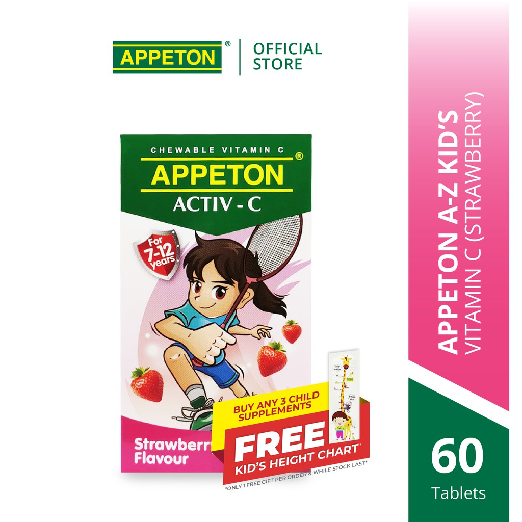 APPETON ACTIV-C 100mg Chewable Tablet for 7-12 Years Old (Strawberry) (60's) for Children Immunity