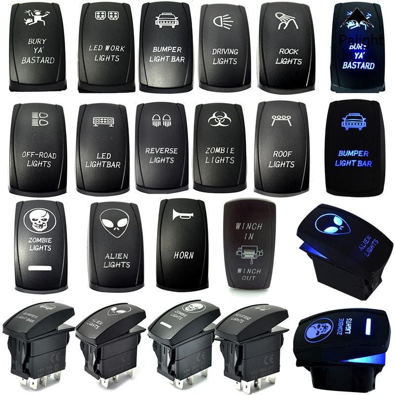 Car 12V 20A 5pin Laser RGB LED Light Bar Rocker Toggle ON-OFF Push Button Switch