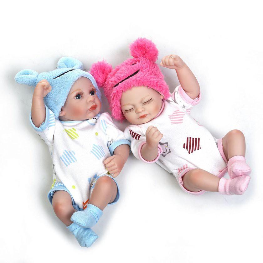【Kiss】10'' Full Body Silicone Reborn Baby Dolls Alive Lifelike Open Eyes Dolls