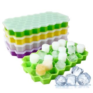 Silicone Ice-Cube Tray Ices Jelly Maker Mold Trays with Lid for Whisky Cockt^ly