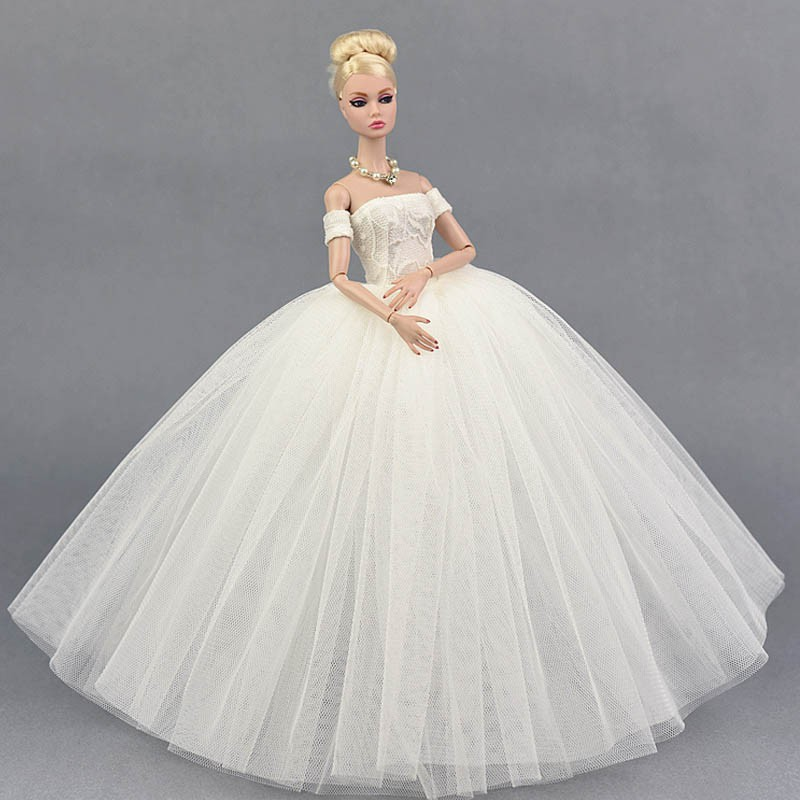White Wedding Dress For Barbie Doll Clothes For Barbie Doll 1 6 Accessories Toy Shopee Malaysia