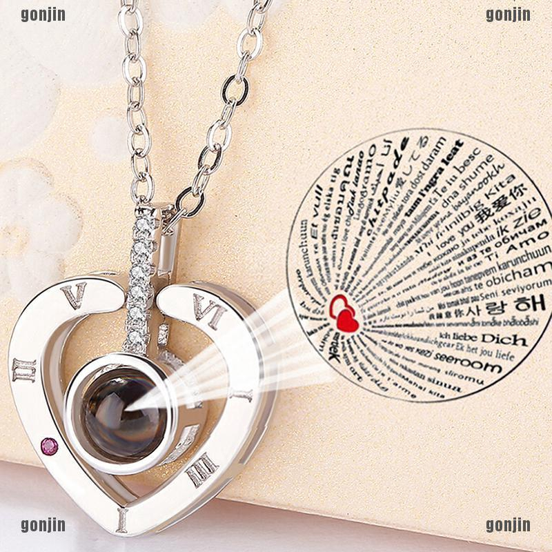 28008130db3ba ☪100 Languages Light Projection I Love You Heart Pendant Necklace Lover  Jewelry