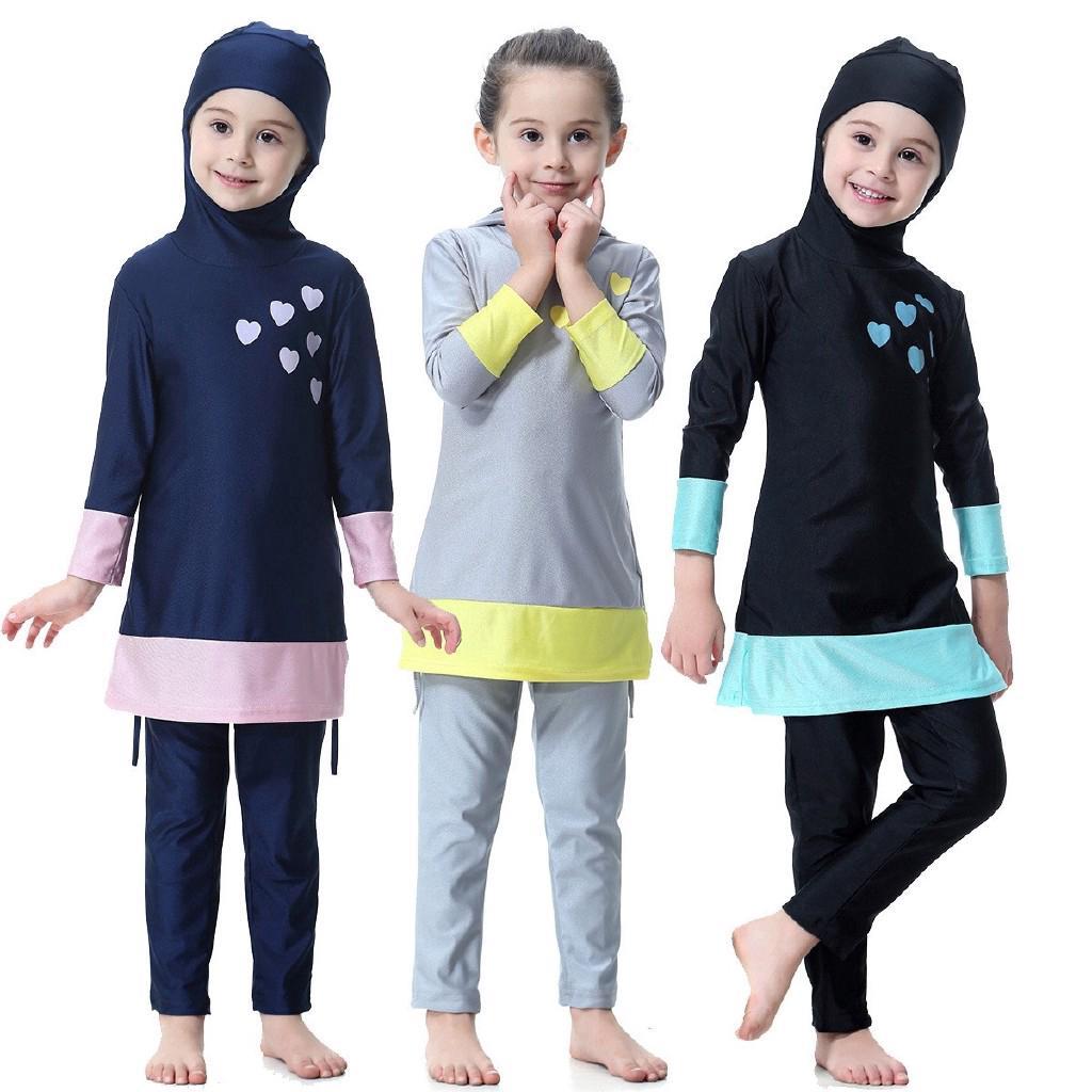 695fb8c1ce Muslim Fashion Girl Kid Conservative Split Swimming Swimsuit Swimwear Black
