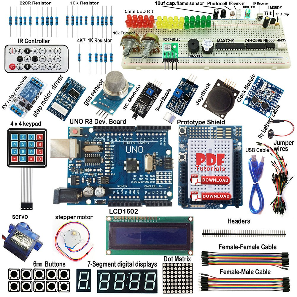Starter Kit For Arduino Uno Students Edition 2 R3 16u2 Shopee Lcd 1602 16x2 Blue Backlight  And Quality Malaysia