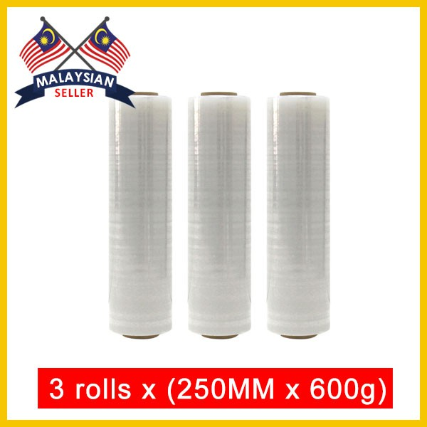 3 rolls x (250MM,600g) Stretch Plastic Wrap Film Wrapping Film Packing Film