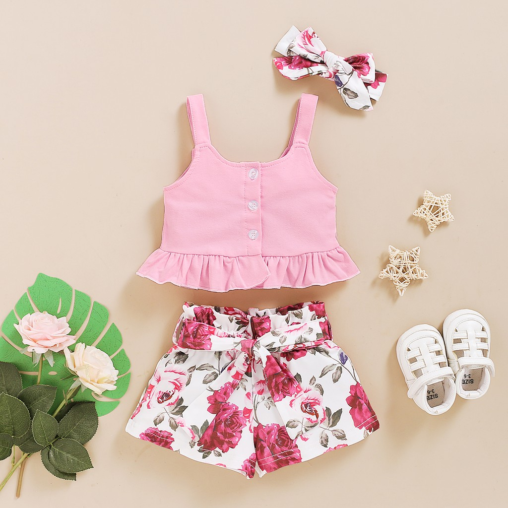 Newborn Toddler Baby Girls Summer Halter Embroidery Floral Tops Elastic Waist Shorts Outfit Clothes