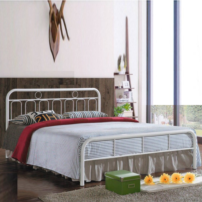 Kaiden Queen Size Metal Bed Frame white color katil queen putih colour
