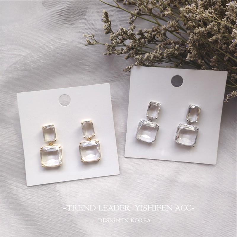 49f58af16a28b Korean design square transparent crystal earrings simple fashion CHIC Mini  Earri
