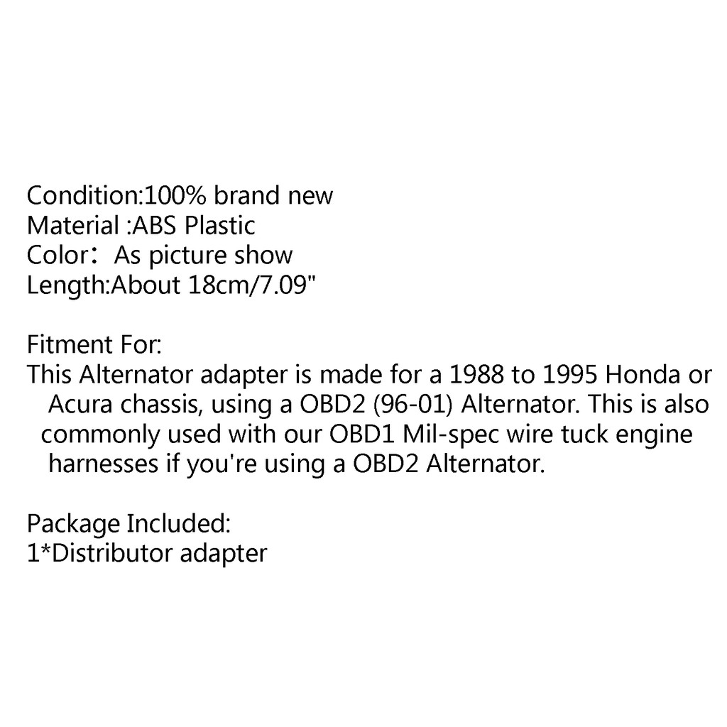 Obd0 & Obd1 Chassis To Obd2 Alternator Adapter Jumper Eg Dc For Honda Civic