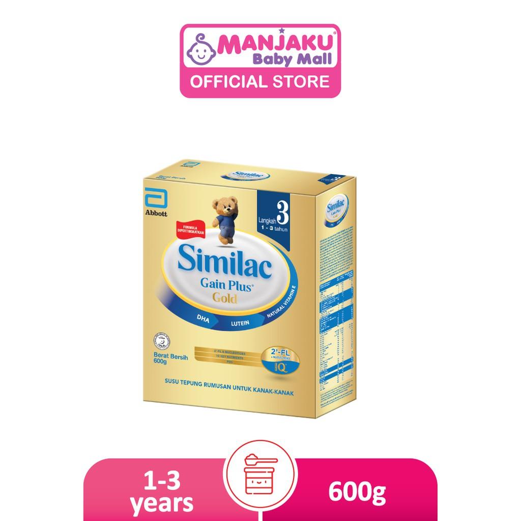 Similac Gain Plus Gold Step 3 Growing Up Milk Formula (600g)