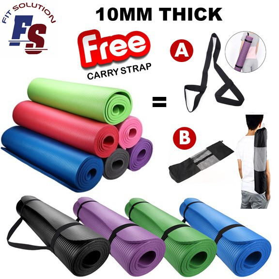 10MM NBR Yoga Mat Extra Thick Non-Slip Mat FREE STRAP PACKAGE Aerobic GYM Fitness Exerciser