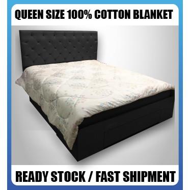 [Ready Stock] Premium Quality Queen Size 100% Cotton Blanket 200cm x 230cm