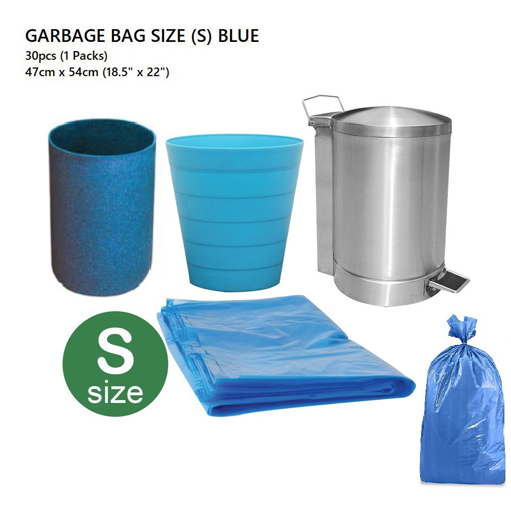 GARBAGE BAGS (S) 47CM X 54CM (BLUE) - 30 PIECES