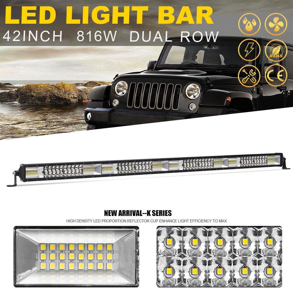 "816W 22/"" LED Work Light Bar Spot Flood Combo Beam Quad Row OffRoad Truck 4WD SUV"