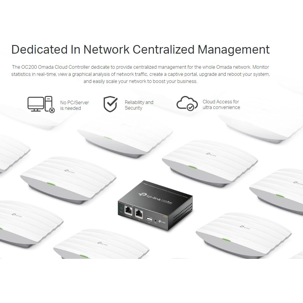 Plug and Play USB for Automatic Backup Real-time Monitoring TP-Link OC200 Hybrid Cloud PoE Controller Metal Enclosure